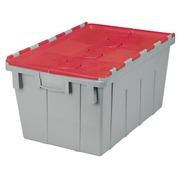 Bac de stockage navette avec couvercle en plastique rouge - 50 litres