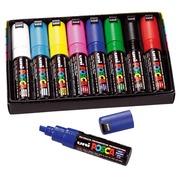 Markers Uni Ball Posca geassorteerde kleuren schuine punt 8 mm - Doos van 8 markers