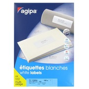 Box of 100 address labels Agipa 119004 white 210 x 297 mm for laser and inkjet