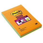 Notes lignées couleurs néon Super Sticky Post-it 101 x 152 mm assortis - bloc de 45 feuilles