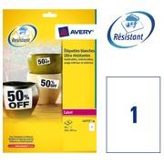 Pack von 20 äußerst starken Etiketten Avery L 4775 210 x 297 mm weiß für Laserdrucker