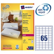 Doos 100 gerecycleerde etiketten 38,1 x 21,2 mm wit Avery LR7651