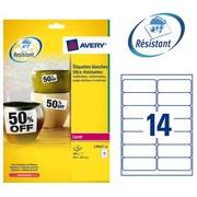 Pack 280 äußerst starke Etikette Avery L 7063 99,1 x 38,1 mm weiß für Laserdrucker