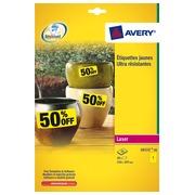 Pak 20 uiterst stevige etiketten Avery L6111 210 x 297 mm geel voor laserprinter
