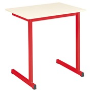 School table 1 person ecru , undercarriage in red