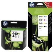 HP 940XL, pack 1 cartouche noire + 1 multipack noir + couleur haute capacité pour imprimante jet d'encre