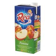 Schachtel mit 10 x Tetrapack Apfelsaft Rea 1 L