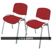 Pack 2 klassieke vergaderstoelen met aluminium onderstel kleur rood - 1 kopen = 1 gratis