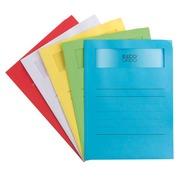 Chemises coin papier avec fenêtre ELCO Volumino A4 dossier 120 g couleurs assorties - Paquet de 50