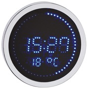 Ronde LED klok aluminium - Kwarts