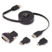 Câble HDMI mâle rétractable avec adaptateur mini HDMI, micro HDMI et DVI