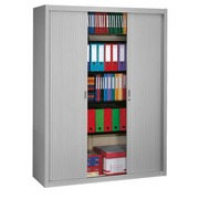 Tambour cabinet, H 200 x W 160 cm, grey