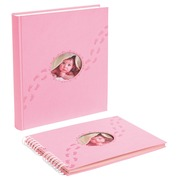 Fotoalbum PILOU baby - boekgebonden - 60 witte bladen - 29x32cm - Roze (12202E)