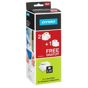 Pak 2 rollen van 220 etiketten expeditie/badge papier 51 x 101 mm Dymo S0722430 wit + 1 gratis