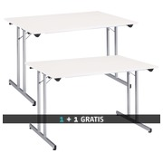 Pack 2 multifunctional folding tables white/alu - 1 paid = 1 identical for free