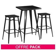 Pack Ibiz schwarz + 1 Säulentisch + 2 Stühle