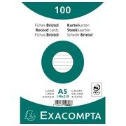 Paquet 100 fiches sous film - bristol ligné non perforé 148x210mm