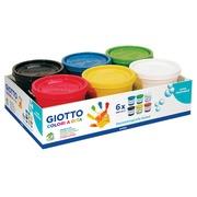Giotto gouache au doigt, 6 pots de 200 ml en couleurs assorties