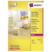 Avery Afneembare neon etiketten ft 99,1 x 38,1 mm (b x h), doos van 100 blad, 1.400 stuks, neongeel