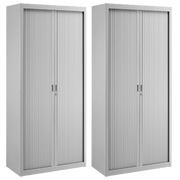 Pack armoires à rideaux Union H 195 cm grise - 1 achetée = 1 offerte