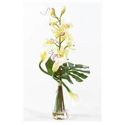 Bouquet artifical flowers Cymbidium + vase