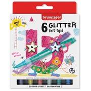 Bruynzeel Kids  feutres Glitter, set de 6 pièces en couleurs assorties