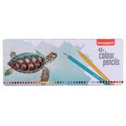Bruynzeel kleurpotlood Schildpad, metalen doos met 45 potloden