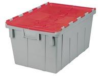 Grijze transportbak met rood deksel, 50l