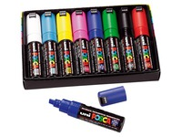 Markers Uni Ball Posca assorted colours chisel tip 8 mm - Box of 8 markers