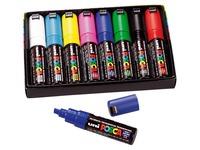 Markierstifte Uni Ball Posca sortierte Farben - Keilspitze 8 mm - Box von 8 Markierstiften