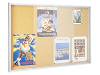 Informationstafel für Innen mit Schiebetüren für 8 Blatt A4 - Kork
