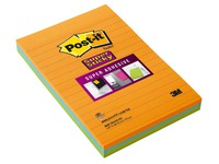 Lined notes Post-it Super Sticky 101 x 152 mm assorted neon colours - Block of 45 sheets