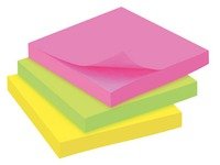 Block 100 repositionable notes JMB, 76 x 76 mm, assorted neon colours