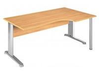 Kompakte Arbeitsstation Start Plus B 160 x T 80 cm Platte erle Beistelltisch rechts Basis L Metall aluminium