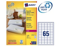 Box of 100 recycled labels 38,1 x 21,2 mm white Avery LR7651
