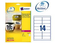Box of 280 super strong labels Avery L 7063 99,1 x 38,1 mm white for laser printer