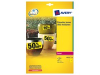 Box of 20 super strong labels Avery L6111 210 x 297 mm yellow for laser printer