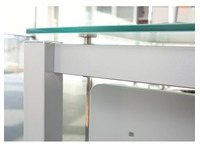 Straight desk Krystal W 80 x D 80 cm plate aquamarine base metal white