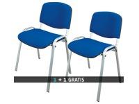 Pack 2 klassieke vergaderstoelen met aluminium onderstel kleur blauw - 1 kopen = 1 gratis