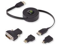 Intrekbare male HDMI kabel met adapter voor mini HDMI, micro-HDMI en DVI