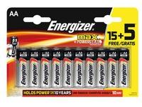Blister van 15 batterijen + 5 gratis LR06 Energizer Max