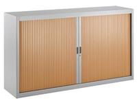Niedriger Rolladenschrank 100 x 180 cm Rolläden in Holz und Gehäuse in Aluminium