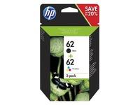 HP 62 Twin Pack - 2 - zwart, driekleur op verfbasis - origineel - inktcartridge