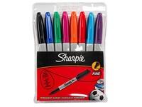 Permanente markers met dopje Sharpie kegelpunt fijn klassieke en fun kleuren - hoesje van 8