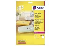 Avery étiquettes transparentes QuickPEEL ft 99,1 x 33,9 mm (l x h), 400 pièces, 16 par feuille