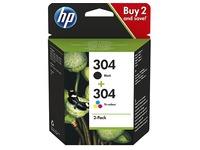 HP 304 pack 2 cartridges 1 zwart + 1  3-kleuren
