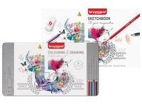 Bruynzeel crayon de couleur Célébration Set 70 ans, carnet à dessin inclus, 65 crayons