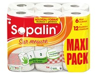Kitchen roll Sopalin made to measure with print 6 maxi rolls = 12 classic rolls
